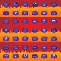 Set of monster emoticons
