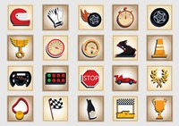 Set of motor racing icons