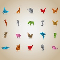 Set of origami animals and birds