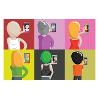 Set of people taking selfie icons