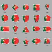 Set of portugal flag buttons