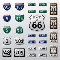 Set of route signs