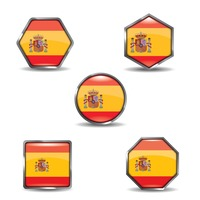 Set of spain flag button