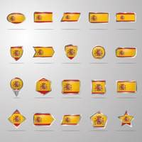 Set of spain flag buttons