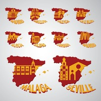 Set of spain map with landmarks