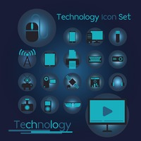 Set of technology gadgets