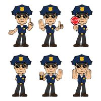 Set of traffic policeman with actions