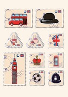 Set of united kingdom postage stamps