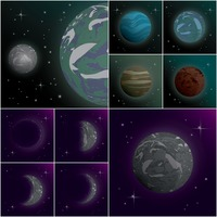 Set of universe icons