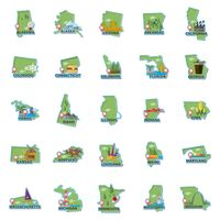 Set of usa maps icons