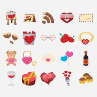 Set of valentines day objects