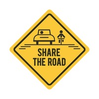Share the road with bicycle and car road sign