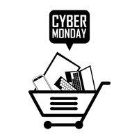 Shopping cart with cyber monday speech bubble