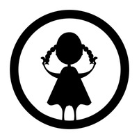 Silhouette of girl holding plait