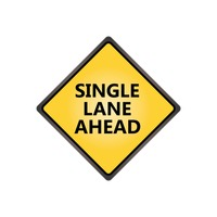 Single lane ahead sign