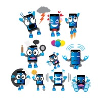 Smartphone cartoon with different actions