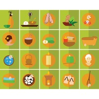 Spa therapy icons set