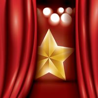 Star behind curtains