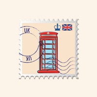 Telephone box postage stamp