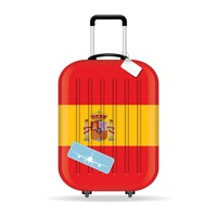 Travel suitcase with spain flag