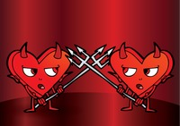 Two cartoon devils on a battle