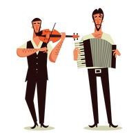 Two men playing violin and accordion