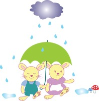 Two rabbits under an umbrella on a rainy day