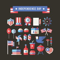 Usa independence day icons