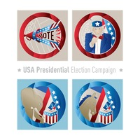 Usa presidential election campaign icons
