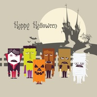 Various costumes for halloween card