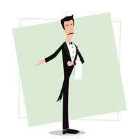Waiter with welcome gesture