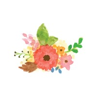 Watercolor flowers with leaves