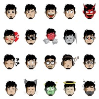 Young man emoticon set