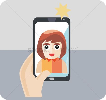 Selfie : A girl taking photo of self
