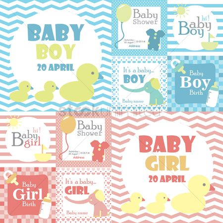 Girl : Baby shower card collection