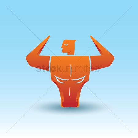 Vectors : Bodybuilder and bull optical illusion