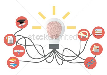 Brain : Brain in bulb with education icons