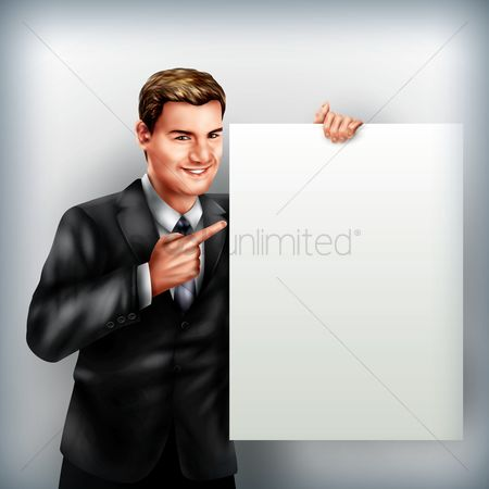 Concepts : Businessman holding placard