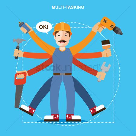 Vectors : Carpenter multitasking