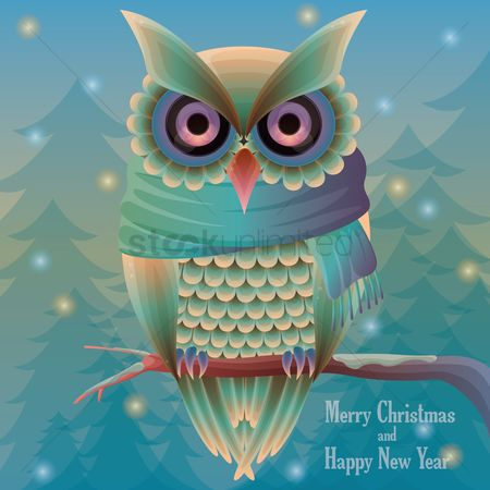 Birds : Christmas card with owl