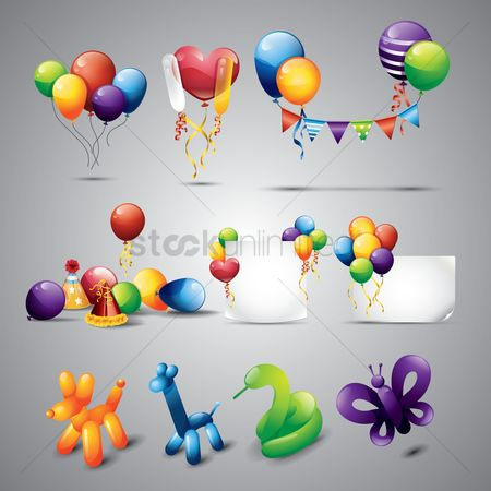 Animal : Collection of balloons and decoration objects