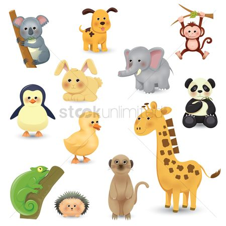 Vectors : Collection of cartoon animals