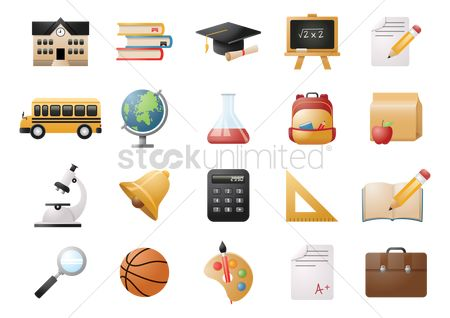 School : Collection of education icons