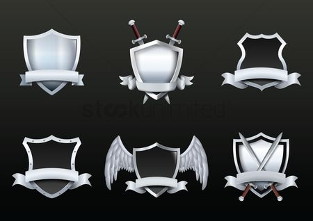 Vectors : Collection of shield emblems