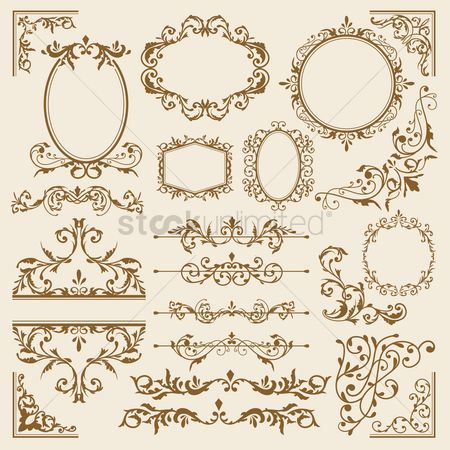 Vectors : Collection of victorian vintage frames
