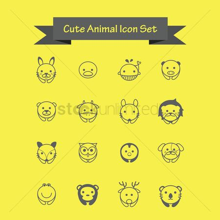 Birds : Cute animal icons set