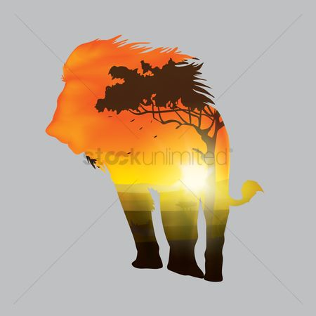 Sun : Double exposure of lion and forest