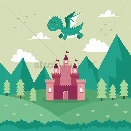 Birds : Dragon flying over a castle