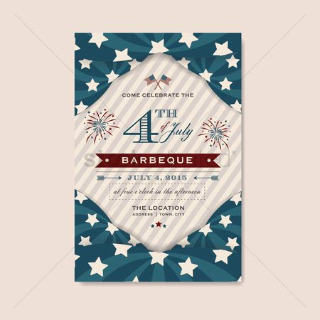 Party : Fourth of july independence day barbecue invitation