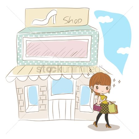 Vectors : Girl coming out of footwear shop
